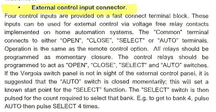 Vergola External Control