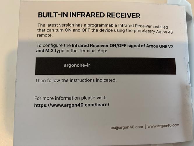 IR Receiver config & More Information