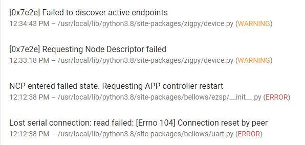zigpy log errors